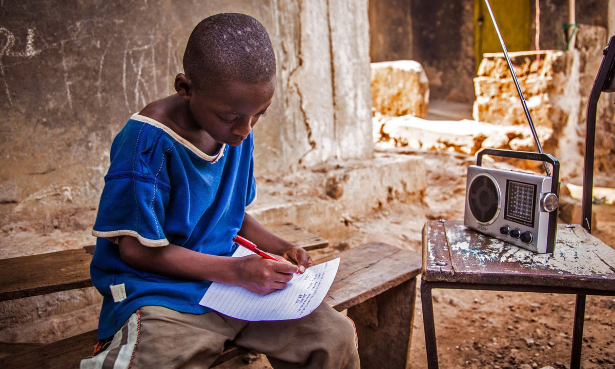 Boy Listening to Radio